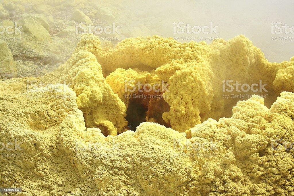 sulphur volcano mouth stock photo