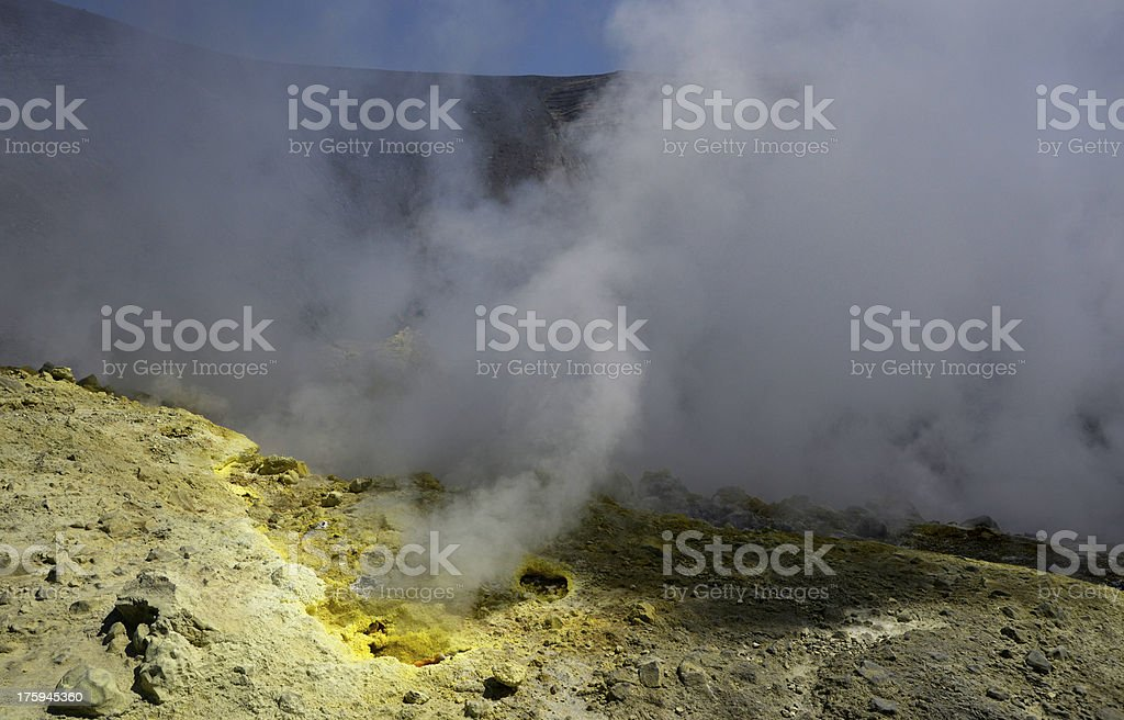 Sulphuric Gas from Fumarole on active Volcan royalty-free stock photo