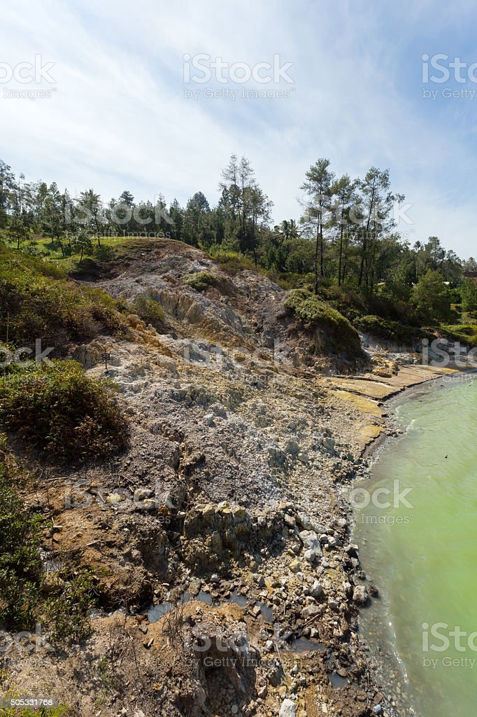 sulphurous lake - Danau Linow stock photo