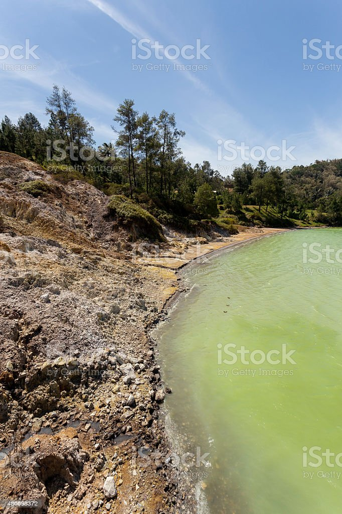 sulphurous lake - danau linow indonesia stock photo