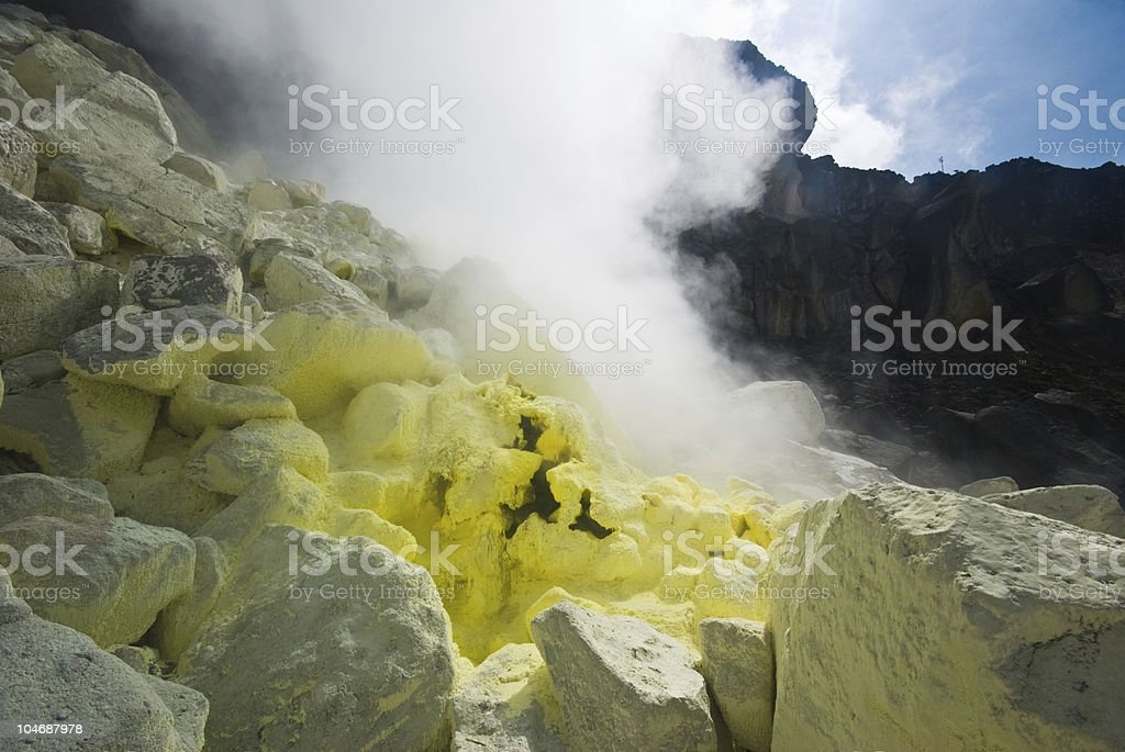 sulphurous stones in a volcano royalty-free stock photo