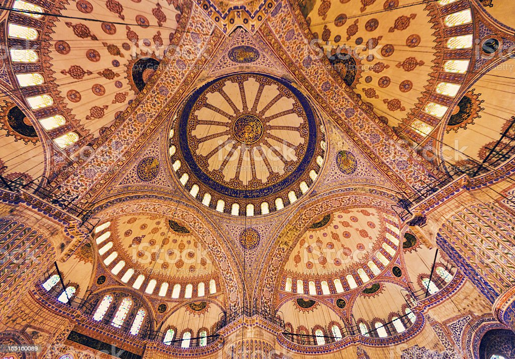 Sultan Ahmed Mosque ceiling royalty-free stock photo