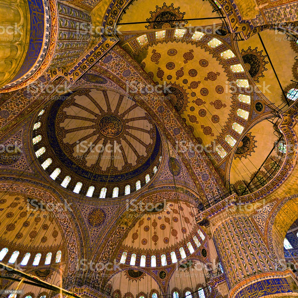 Sultan Ahmed Mosque ceiling stock photo