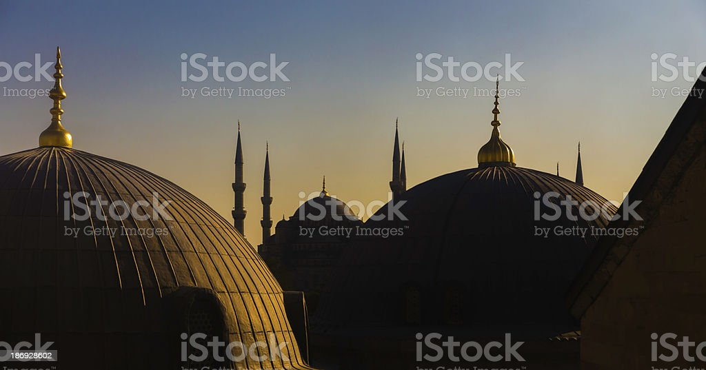 Sultan Ahmed Mosque from Hagia Sophia royalty-free stock photo