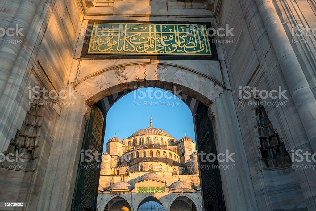Sultan Ahmed Mosque in Turkey or Blue Mosque stock photo