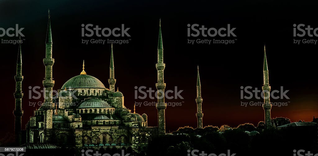 Sultan Ahmed Mosque. Istanbul. Turkey. Vintage painting effect. stock photo
