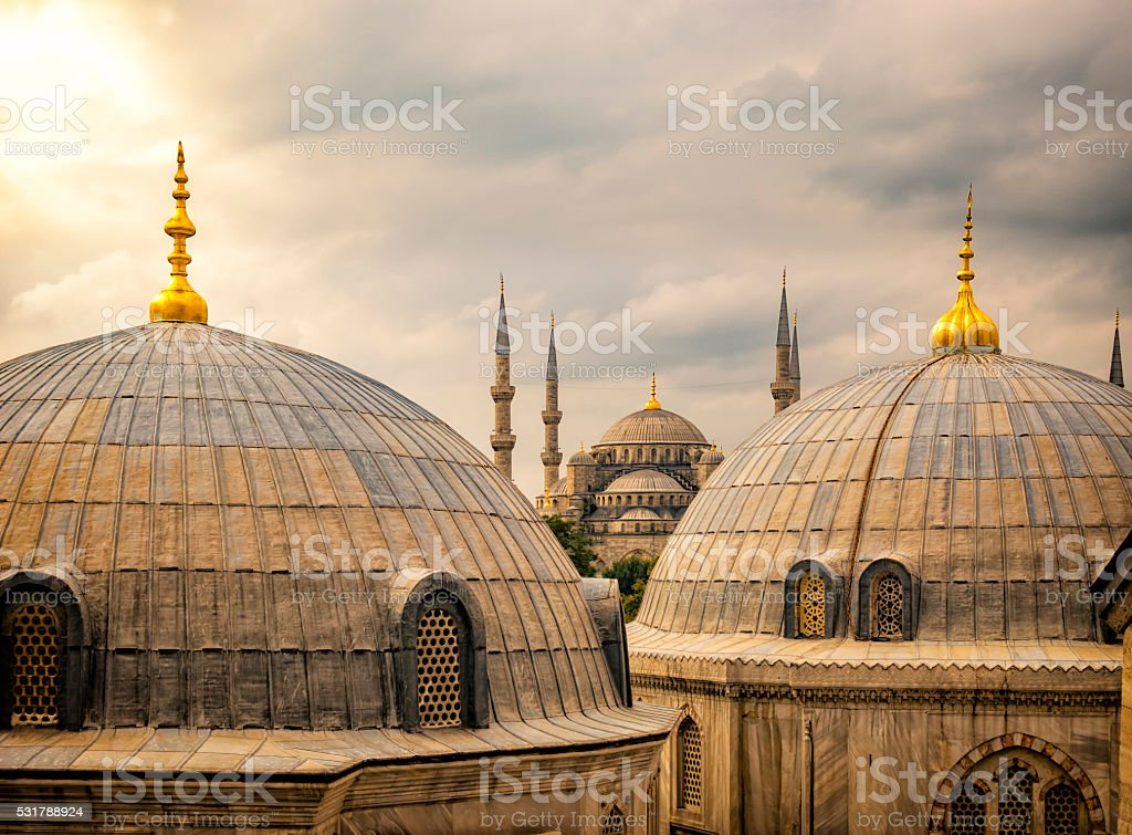 Sultan Ahmed Mosque or Blue Mosque in Istanbul, Turkey stock photo