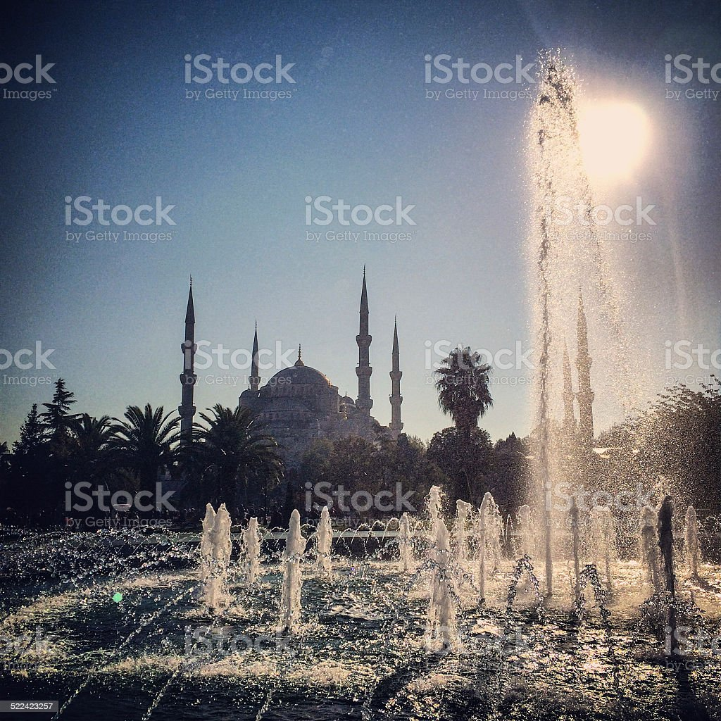 Sultan Ahmet, Blue Mosque with fountain, Istanbul stock photo