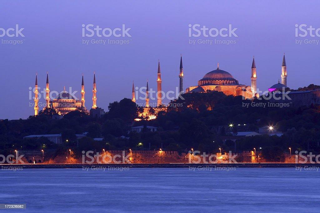 Sultan Ahmet mosque and Hagia Sofia - 2 royalty-free stock photo