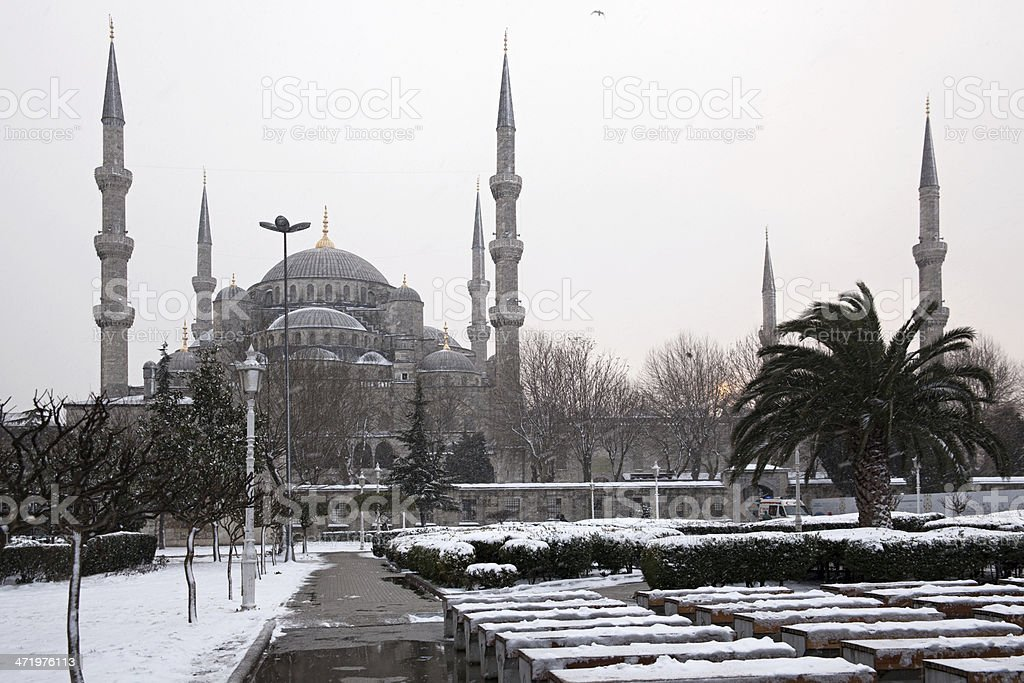 Sultan Ahmet Mosque at Snowy Day stock photo