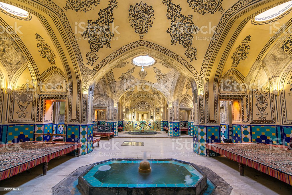 Sultan Amir Ahmad historic bath, Kashan, Iran stock photo