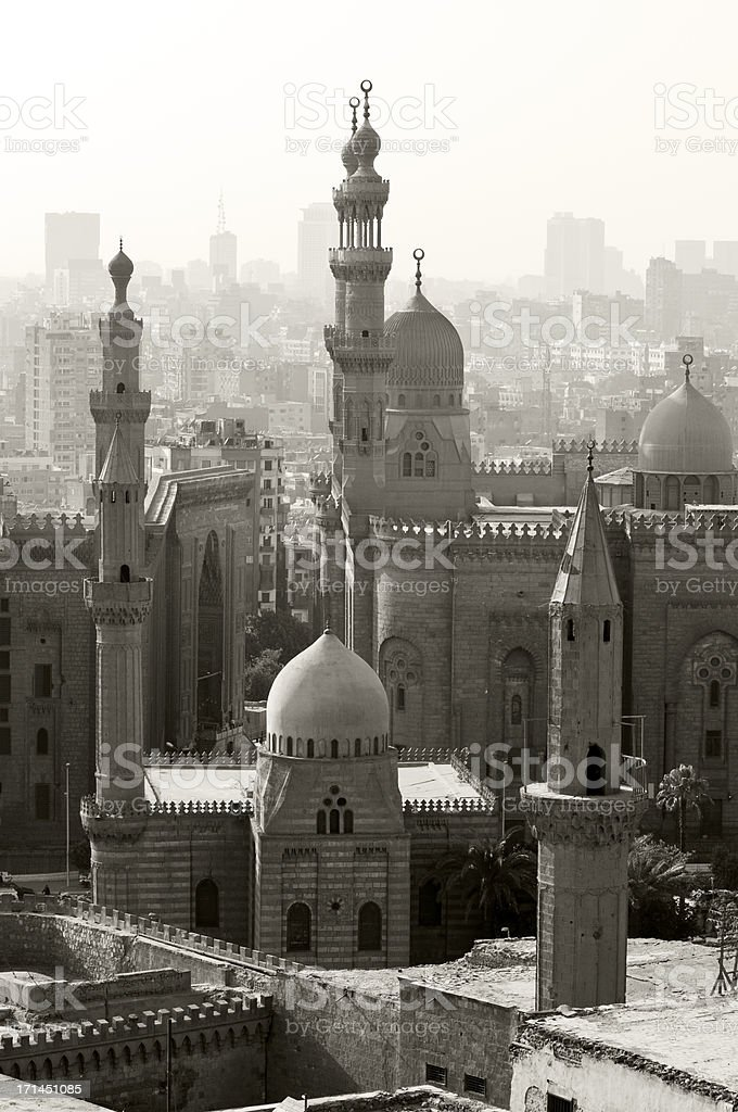 Sultan Hassan Mosque and the Al-Rifa'i Mosque in Cairo, Egypt stock photo