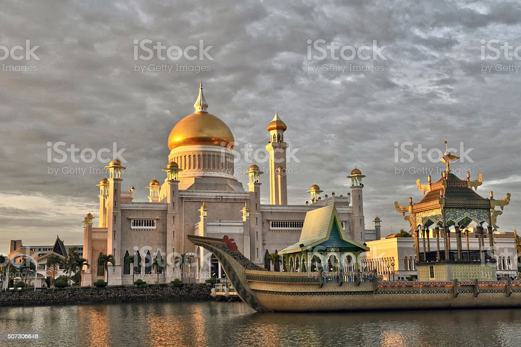 Sultan Omar Ali Saifuddin Mosque, Brunei Darussalam, depicting M stock photo