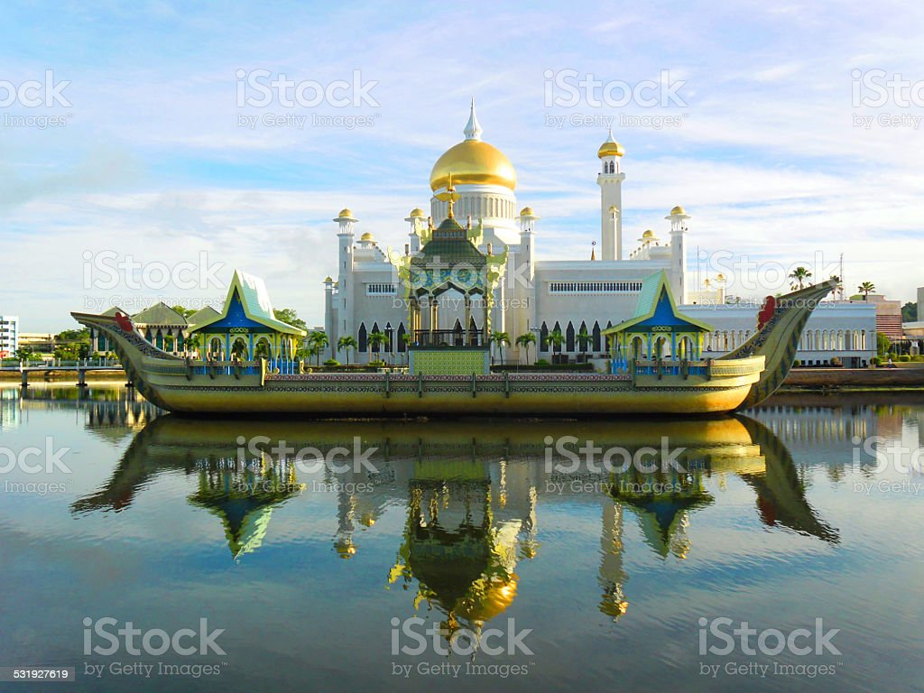 Sultan Omar Ali Saifudding Mosque, Bandar Seri Begawan, Brunei, Southeast stock photo
