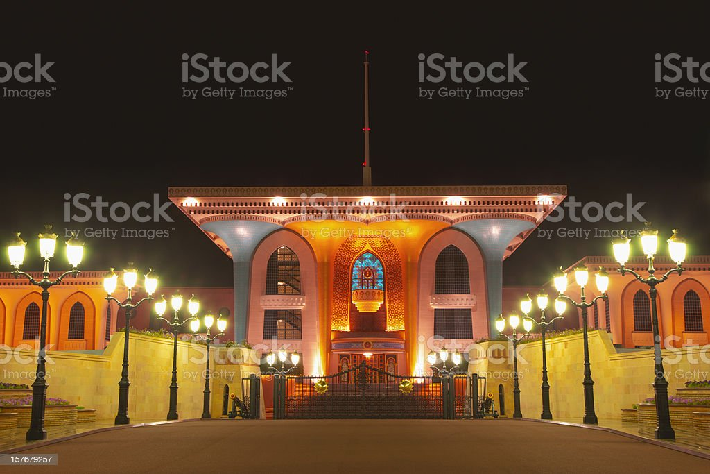Sultan Qaboos Al Alam Palace Masqat Oman stock photo