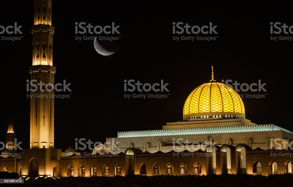 Sultan Qaboos Grand Mosque at night stock photo
