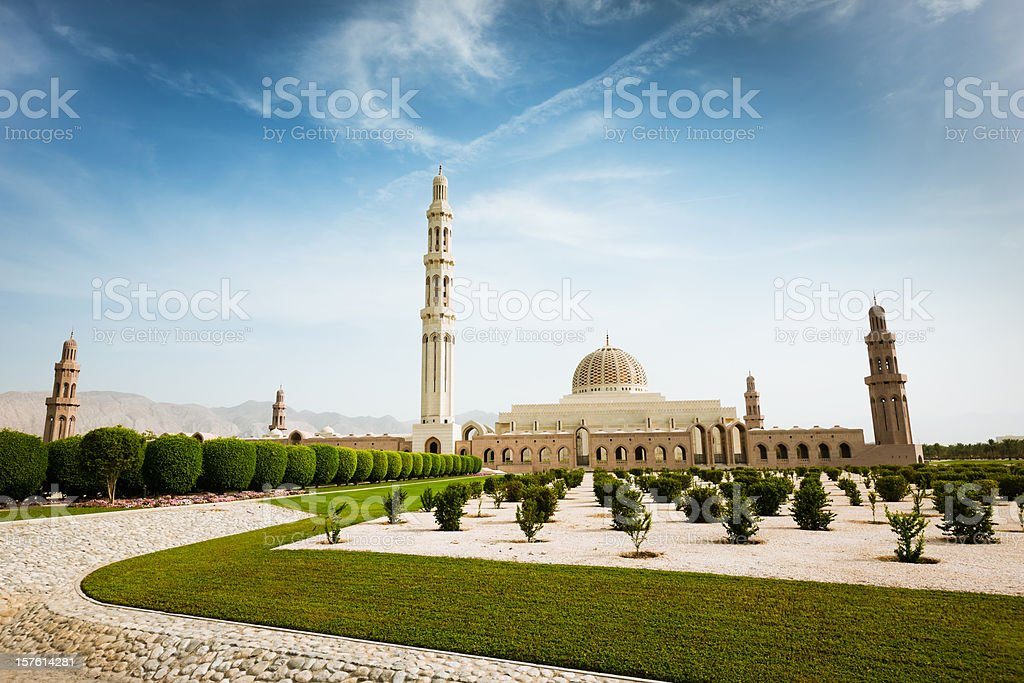 Sultan Qaboos Grand Mosque Park Muscat Oman stock photo