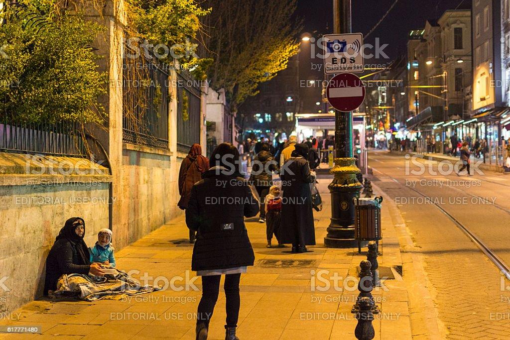 Sultanahmet area during night, Istanbul, Turkey stock photo