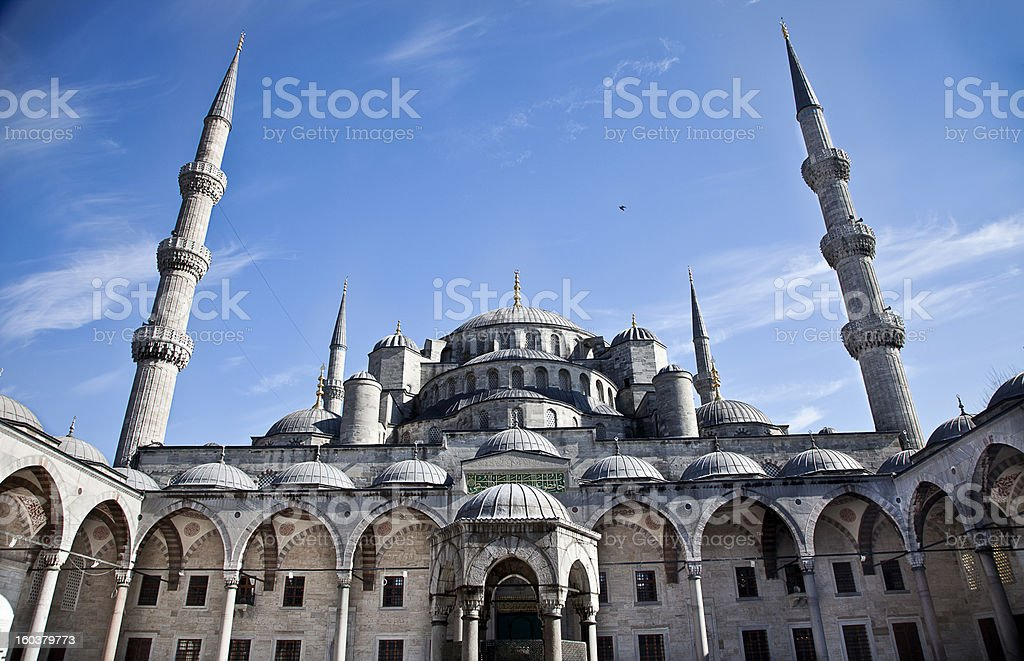 Sultanahmet Blue Mosque in Istanbul Turkey - innercourt royalty-free stock photo