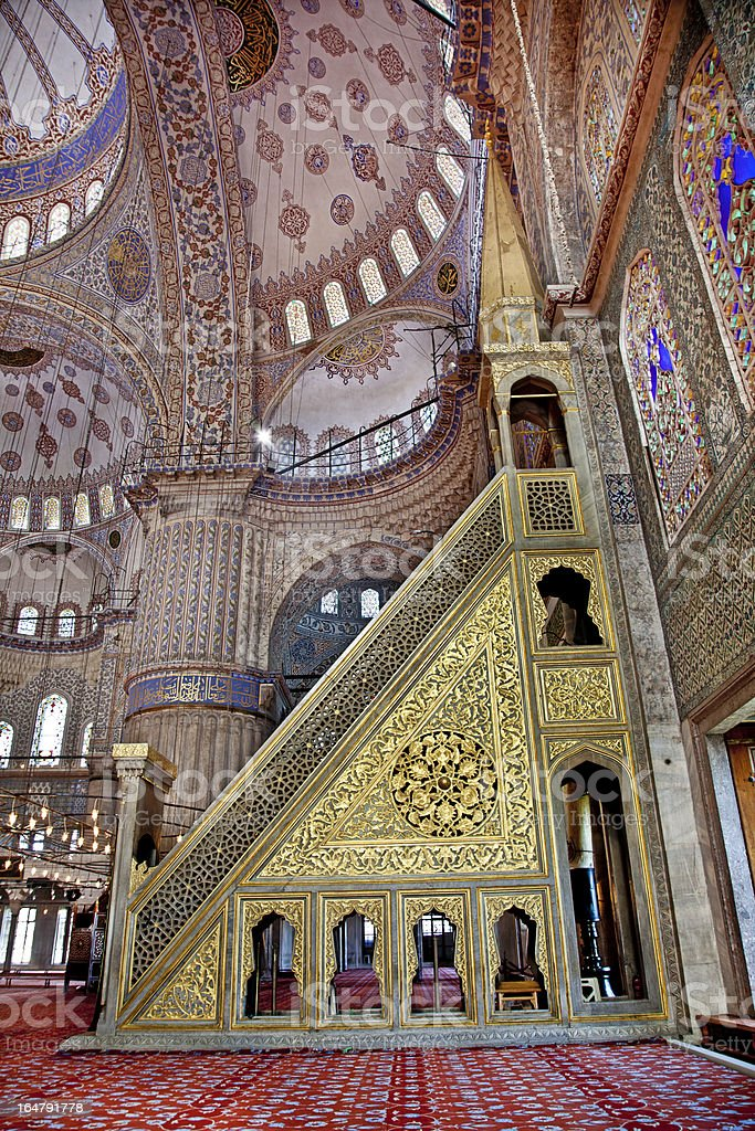 Sultanahmet Blue Mosque in Istanbul Turkey - pulpit royalty-free stock photo