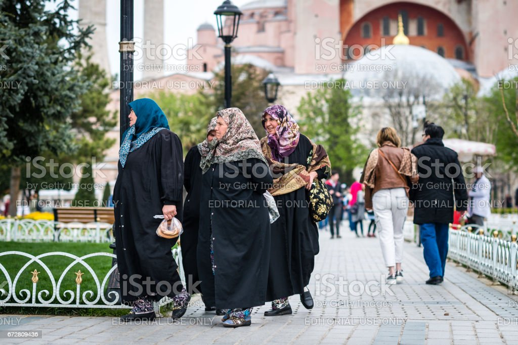 Sultanahmet square near the Blue mosque in Istanbul stock photo