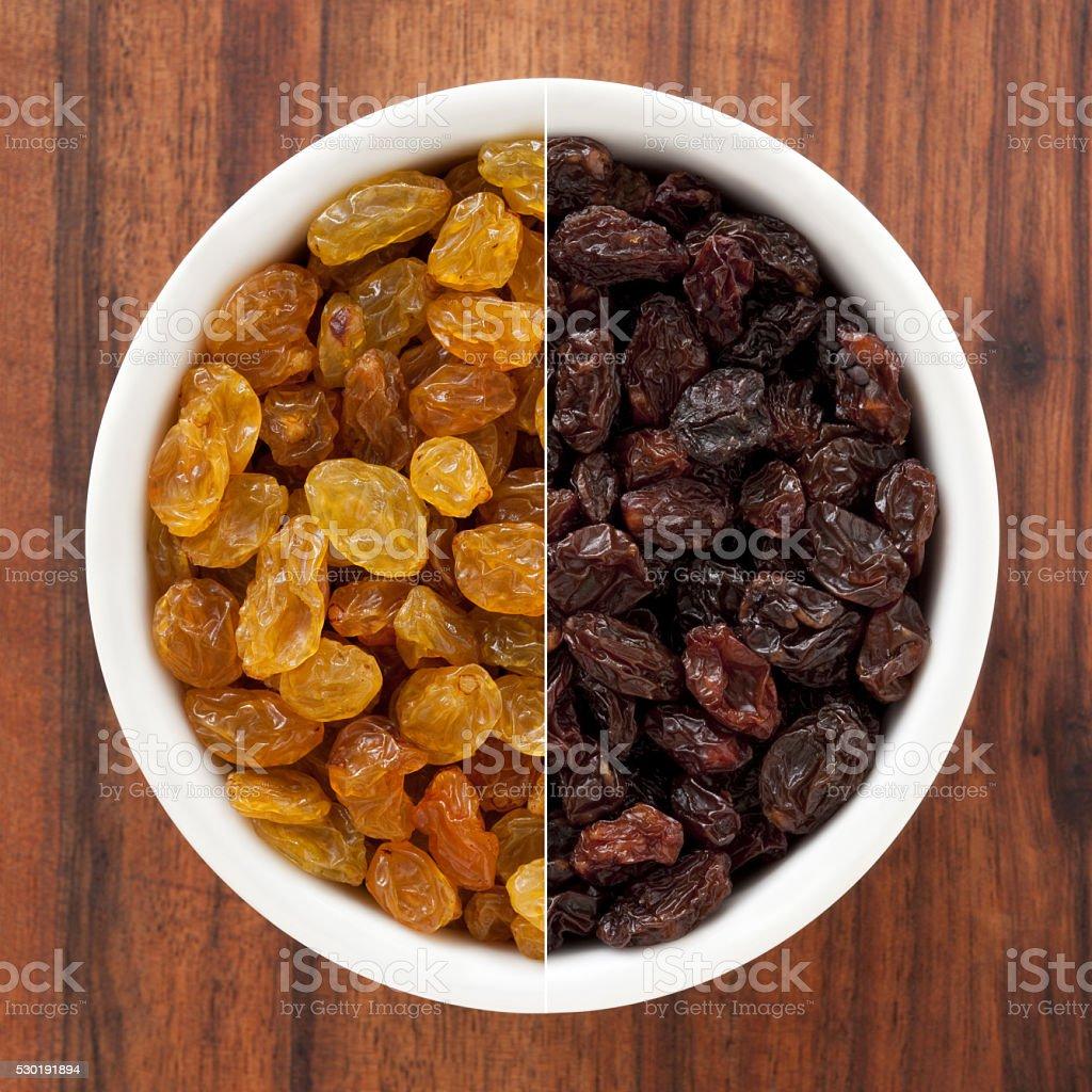 Sultanas and raisins composition stock photo