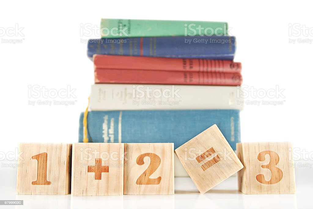 Sum blocks and books - clipping path stock photo
