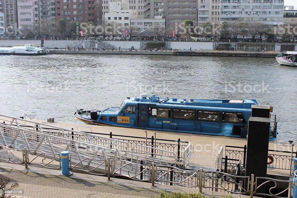 Sumida River and ship stock photo