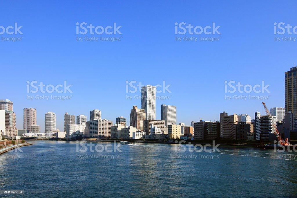 Sumida River and Tokyo landscape stock photo