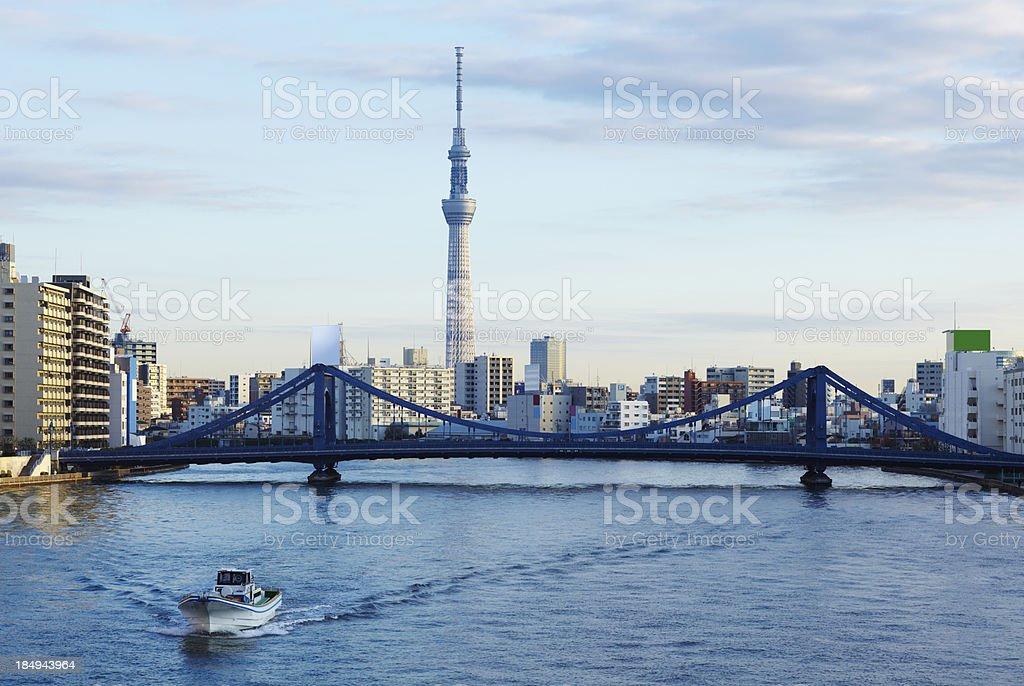 Sumida river and Tokyo Sky Tree stock photo