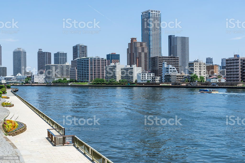 Sumida River and urban landscape stock photo