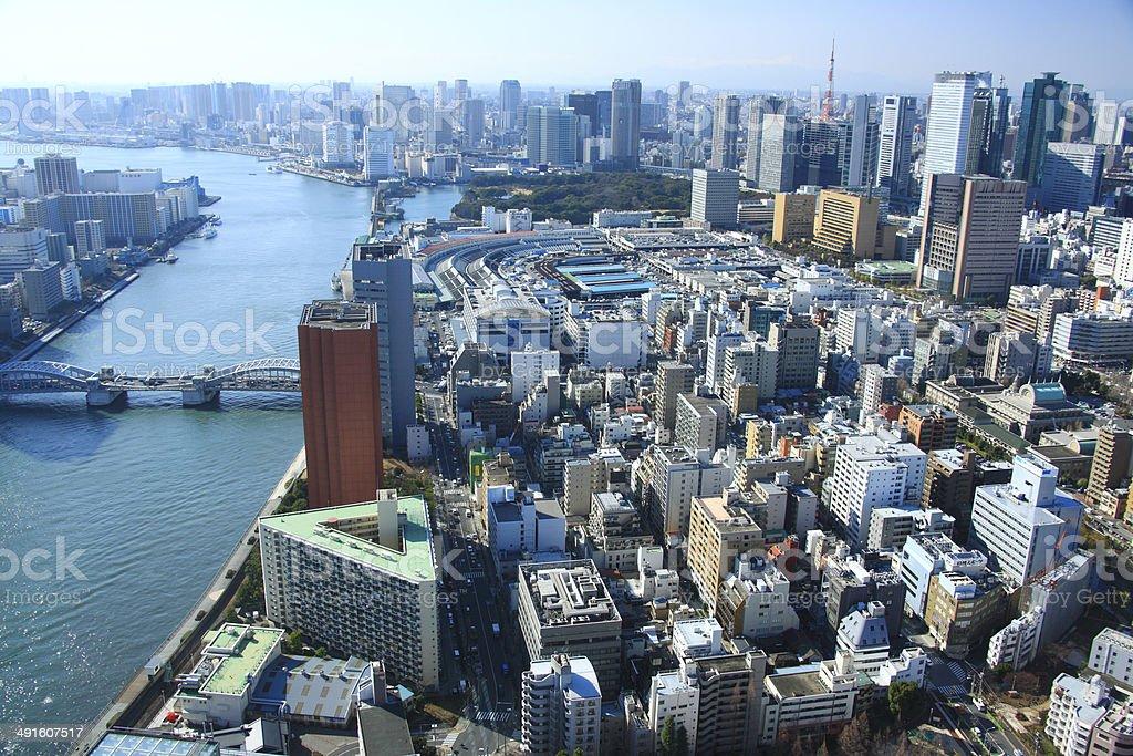 Sumida River, the Tsukiji market, and Tokyo Tower stock photo