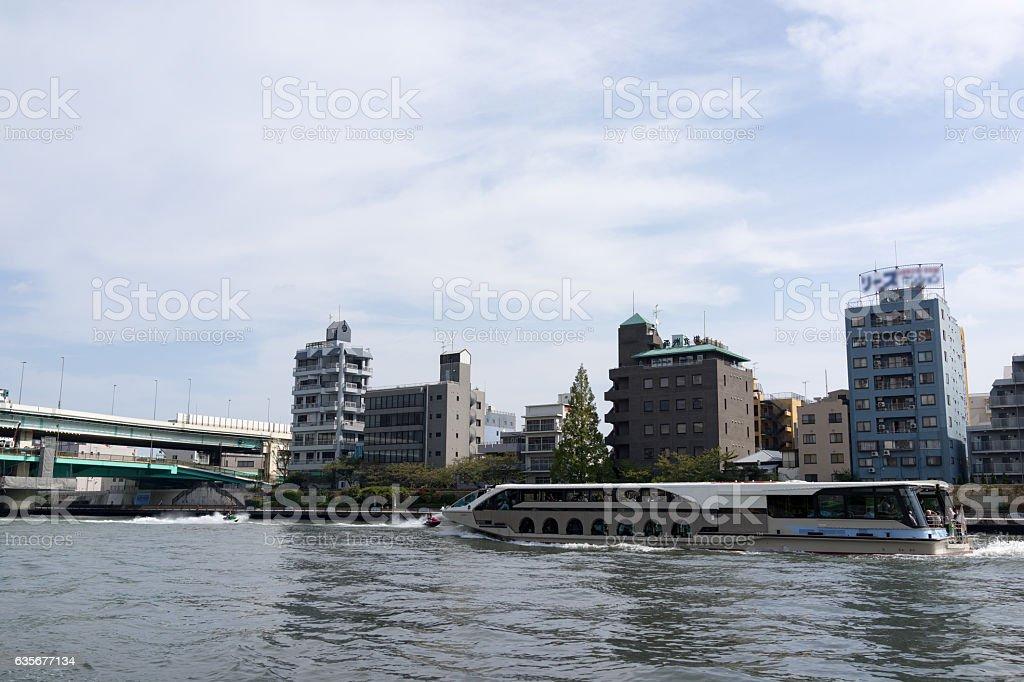 Sumidagawa Ohashi and river bus in Tokyo. stock photo