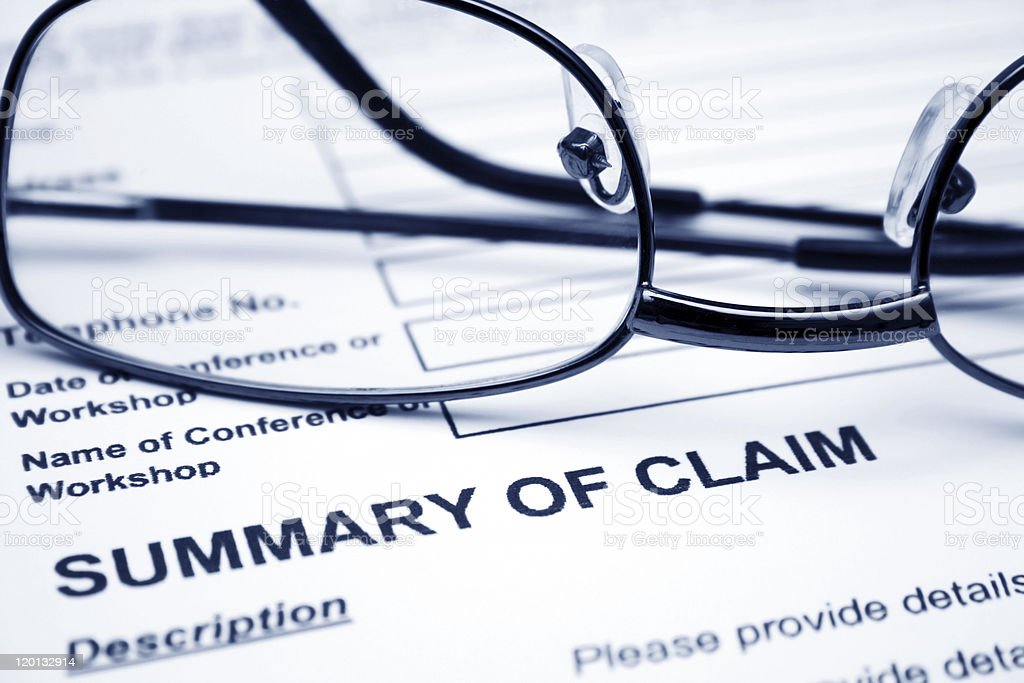 Summary of claim stock photo