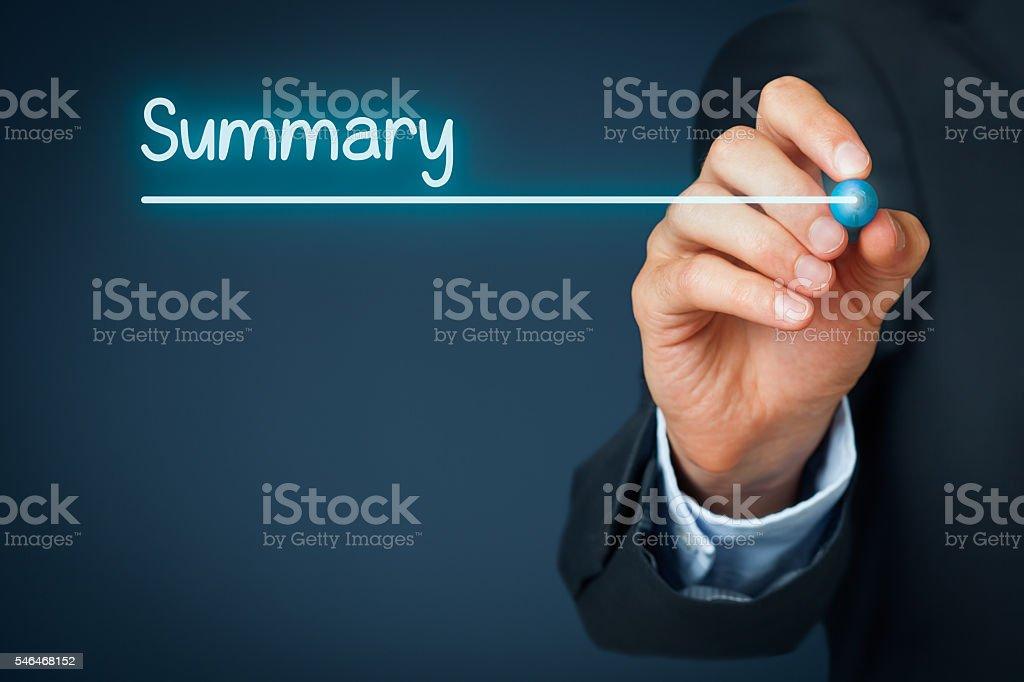 Summary stock photo