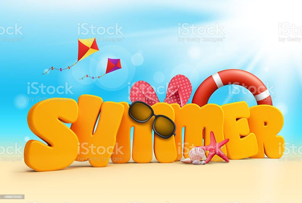 Summer 3D Dimensional Texts Standing in Beach Sand with Sky stock photo
