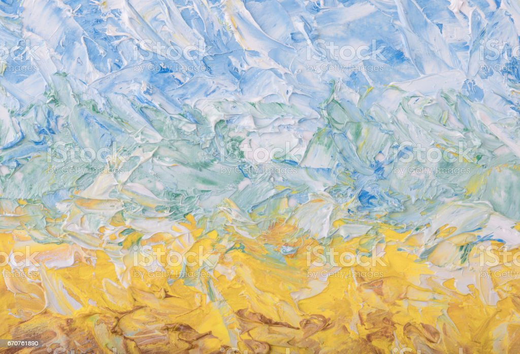 Summer abstract oil paint background. Sky, clouds,sea,beach. Palette knife paint texture. stock photo