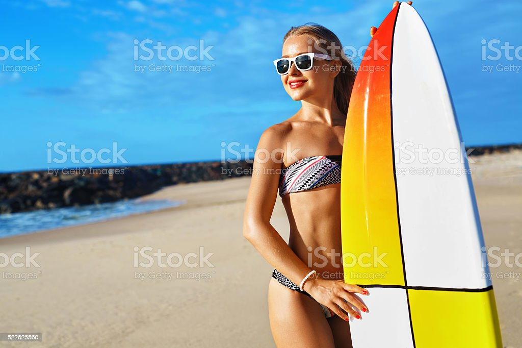 Summer Adventure. Water Sports. Surfing. Sexy Sporty Surfer Girl With...