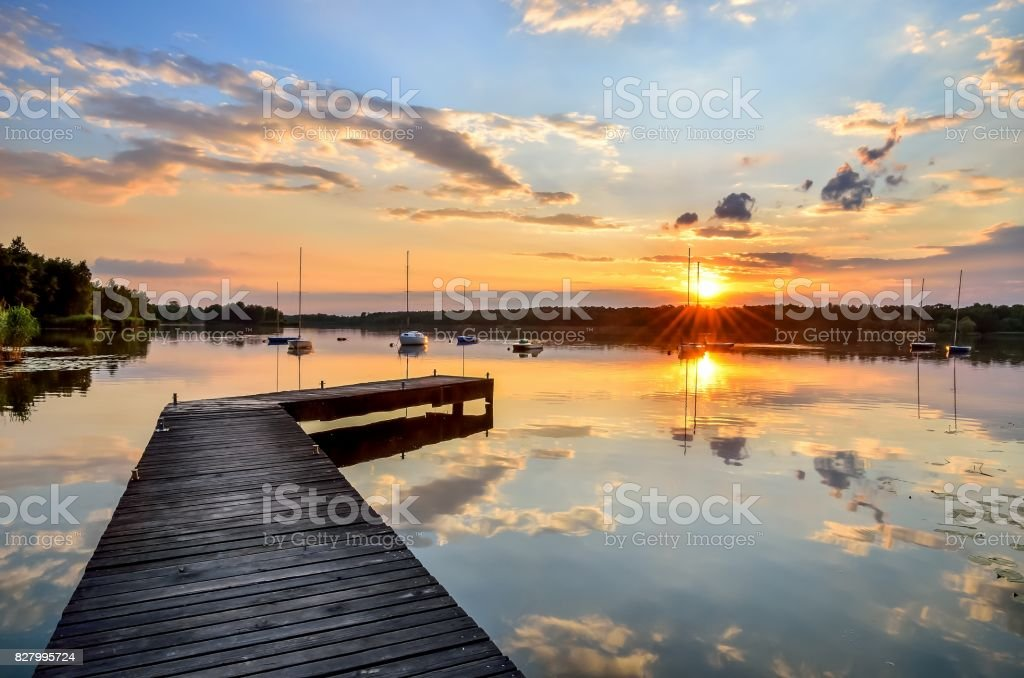 Summer afternoon landscape. stock photo