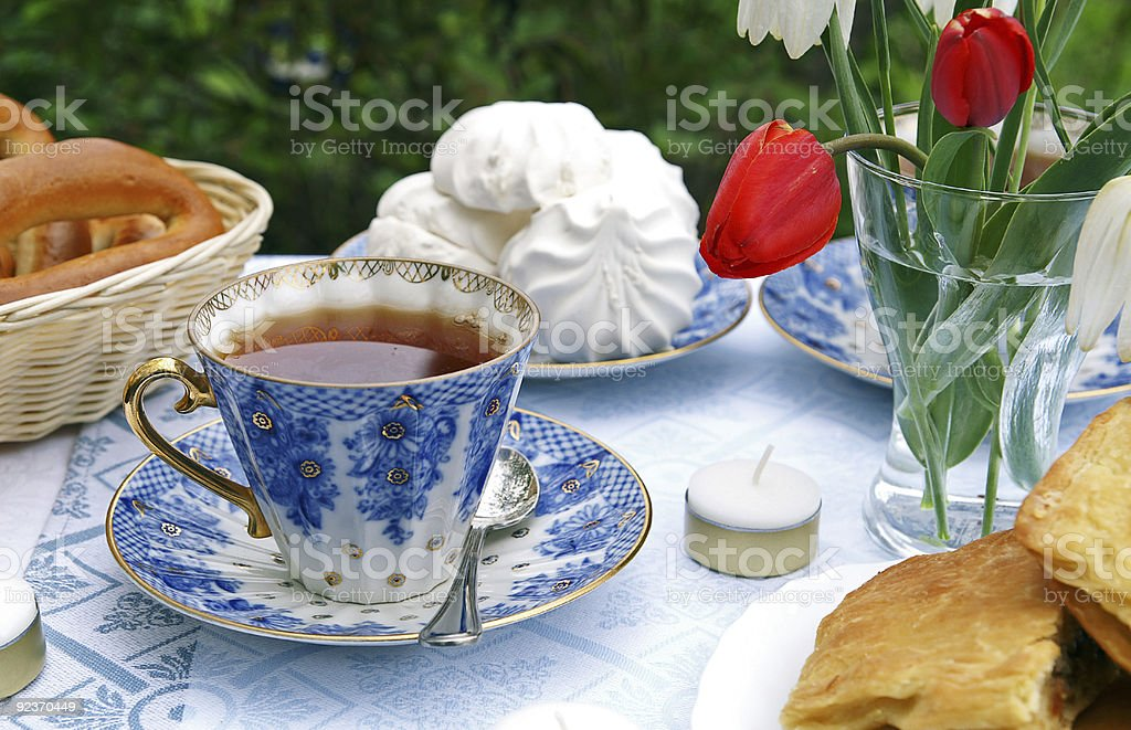 Summer afternoon tea-table stock photo