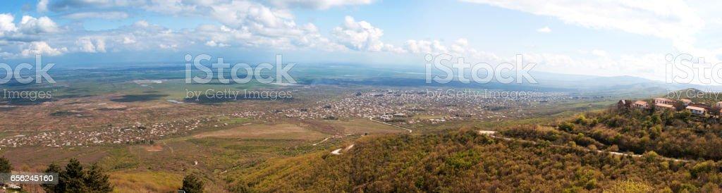 Summer Alazani Valley panorama stock photo