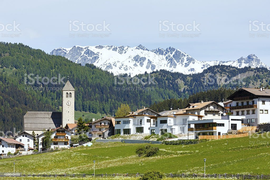 Summer Alpine village view (Italy) royalty-free stock photo