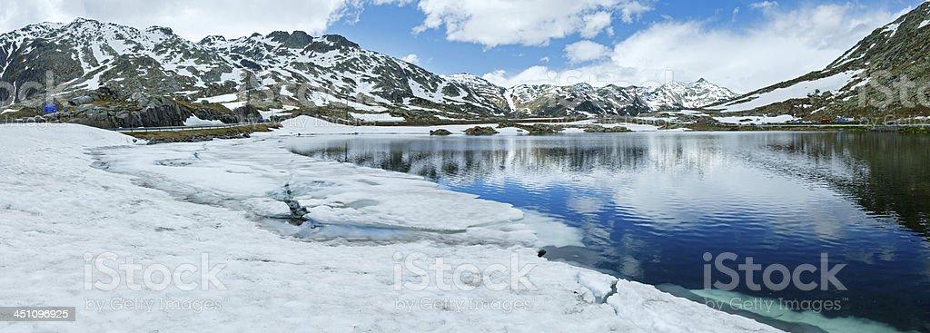 Summer Alps mountain lake panorama  (Switzerland) stock photo