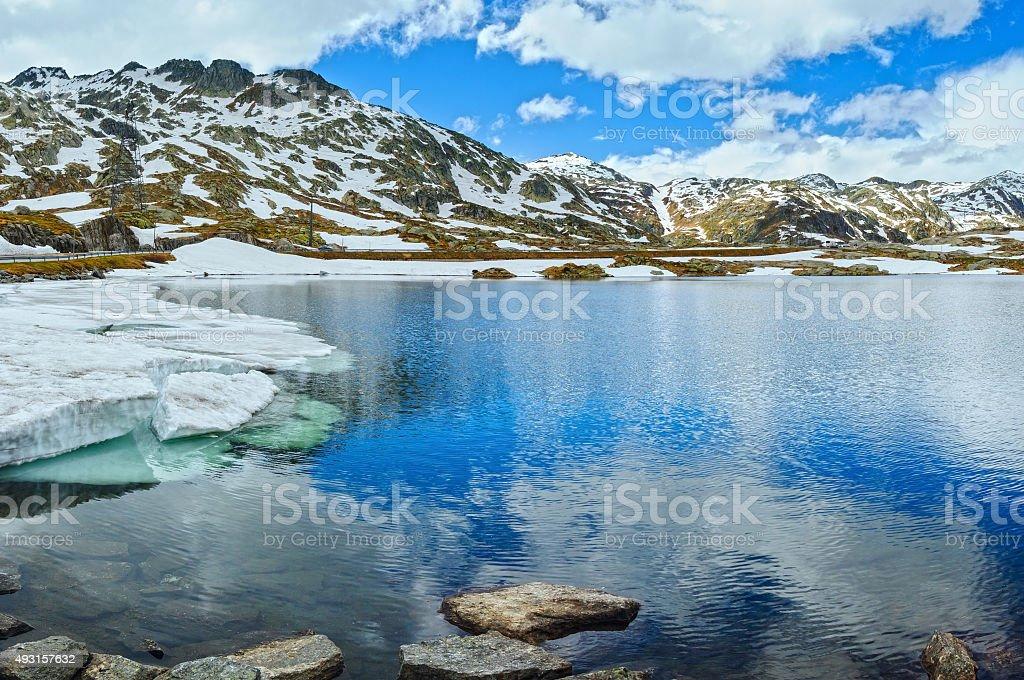 Summer Alps mountain lake  (Switzerland) stock photo