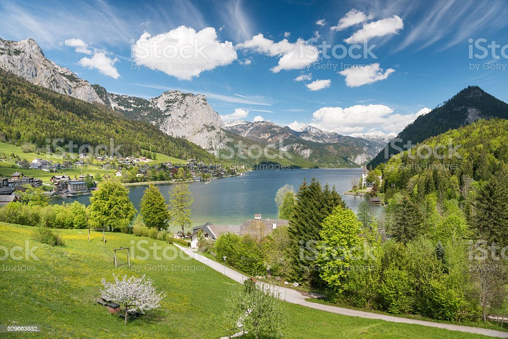 Summer Alps Panorama with Lake Grundlsee, Austria, Nature Reserve stock photo