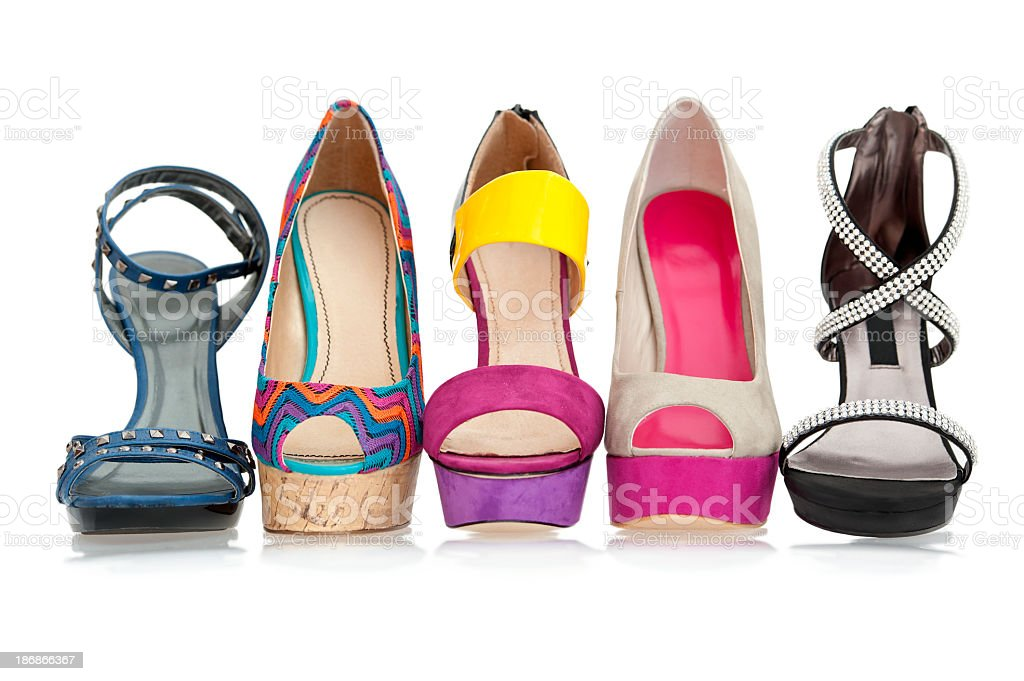 Summer and Spring fashion women high heels shoes stock photo