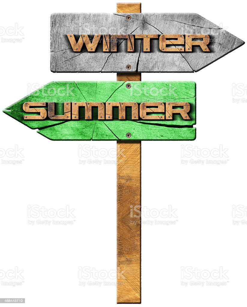 Summer and Winter - Wooden Sign stock photo
