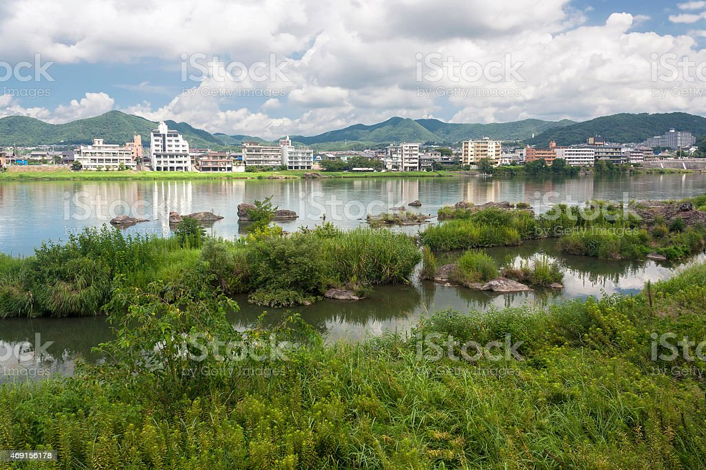 Summer at the Kiso River in Inuyama, Japan stock photo