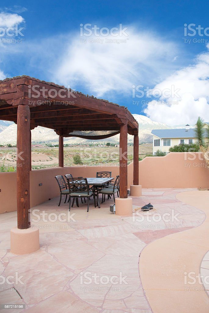 Summer Back Yard with Patio Furniture stock photo