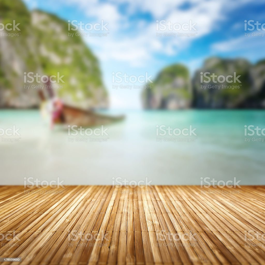 Summer background. Beach scene with bamboo floor texture. stock photo